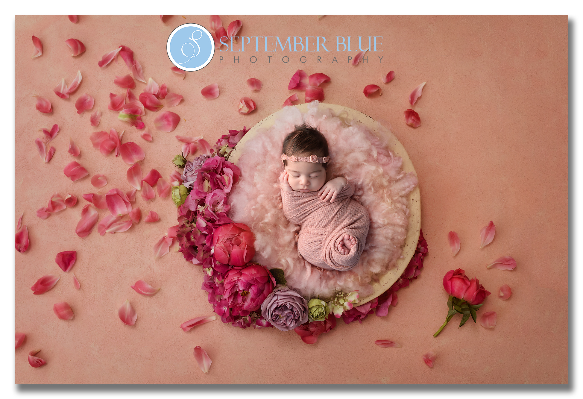 Newborn Composite with Flowers